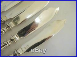 12 piece Antique Sterling Silver Plate Fish Cutlery Ornate Sea Monster Design
