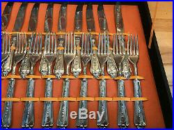 153 Piece Italian Cutlery Set Setting Vintage Silver Plated -Cased box(2) + set
