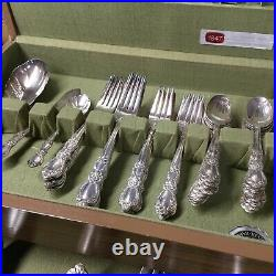 1847 ROGERS BROS Grand Heritage Silver Plate Flatware Set with Box 78 Pieces