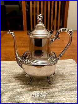 1847 Rogers Bros Silver Plate Daffodil Coffee Tea Set Service 6 Pieces Tray Rare