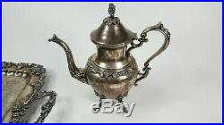 1930's Goldfeder 6 piece silver plate tea set 29 x 19 tray grape motif