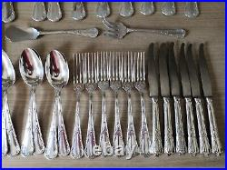 1935 Christofle CHRYSANTHEMUM old Marly Silver Plated 41 piece cutlery set ladle
