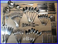 1935 Christofle Fidelio Baguette Silver Plated 62 piece cutlery set ladle oyster