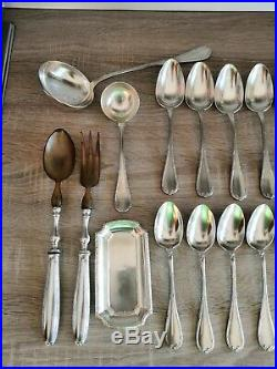 1935 Christofle Rubans ribbons Silver Plated 44 piece cutlery set ladle salad