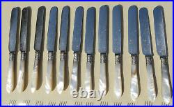 24 Piece Mother of Pearl Silver Plate Fruit, Dessert Knife & Fork Set Boxed