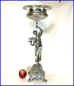 26 Tall Silverplated Figural Center Piece of Lady With Bird