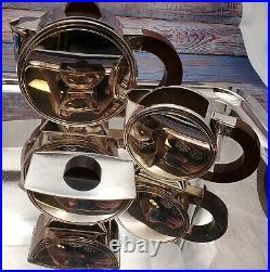 3 Piece Silver Plate Christofle tea set with tray, Beautiful unique set Art Deco