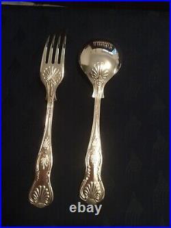 43 Piece Vintage Regency Silver Plated Kings Pattern Cutlery Set in Wooden Box