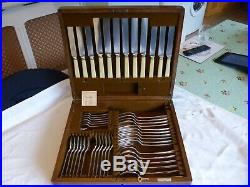 44 Piece Mappin & Webb Silver Plate Rat Tail Canteen Of Cutlery. Dated 1933