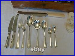 49 PIECE SILVER PLATE MAPPIN & WEBB RAT TAIL CANTEEN of CUTLERY SET