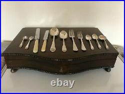 52 Piece Oak Canteen Of Cutlery In A Lockable Case With Key (setting For 6)