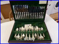 58 Piece George Butler Silver Plate Bead Pattern Canteen Of Cutlery
