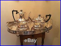 5 Piece A1 Silver Soldered Silverplate Art Deco Tea Coffee Set Withlarge Tray