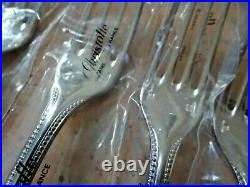 5 pieces Christofle PERLES Dinner Fork Silver plated Never Used