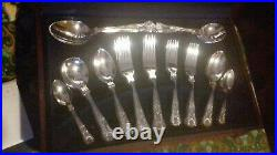 60 Piece Vintage Viners SILVER PLATE Kings Pattern Wooden Canteen unused papers