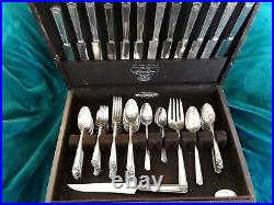 74 Piece 1847 Rogers Bros. Silverware Set for 12 (11) Monogramed Flatware