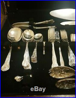 80 Piece Vintage J. Eales & Son SILVER PLATE Kings Cutlery Set with Wooden Canteen