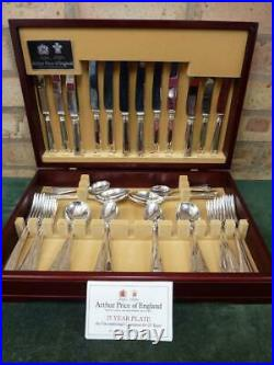 8 setting Arthur Price Silver Plated 60 piece Cutlery Canteen Grecian Pattern