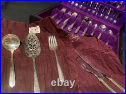 91 Piece Nobility Plate Oneida Royal Rose Vintage Silver Plate Silverware Set