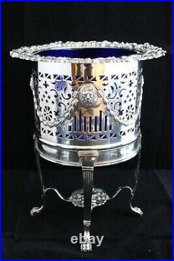 ANTIQUE 19th C. 3 PIECE SILVER PLATED GARNITURE SET COBALT BLUE GLASS VASES