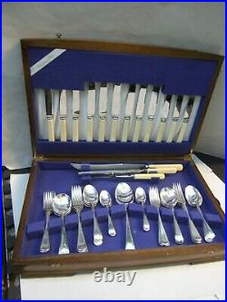 ANTIQUE GROSVENOR 47 PIECE BOXED CANTEEN SILVER PLATED CUTLERY SET FOR 6 -1920's