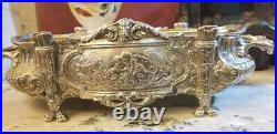 ANTIQUE SILVER PLATED BRONZE CENTER PIECE. With HANDLES