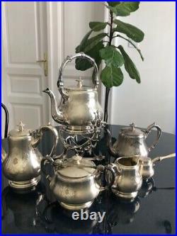 Antique Beautiful Large 7 Piece Silverplate Tea /Coffee Pot Set
