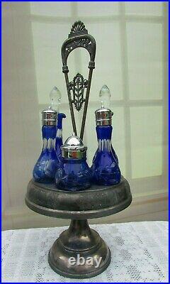 Antique Cobalt Blue Crystal Silver Plate Castor Cruet 6 piece Set Romania
