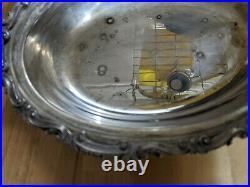 Antique Commercial Silver Plate Lazy Susan Dumbwaiter Service Center Piece