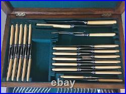 Antique Cutlery Canteen Silver Plate Arts & Crafts Lees & Sons 87-Piece 2-Drawer