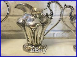 Antique Pairpoint Mfg Co. Art Nouveau Design Silver Plated 4 Piece Tea Set