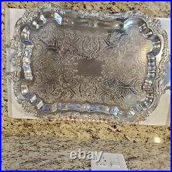 Antique Sheridan Taunton Silver 7-piece Coffee And Tea Set Tray