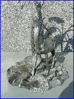 Antique Silver Plated Center Piece Stag With Palm Trees Victorian C1870