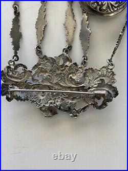 Antique Victorian Silver Plated Chatelaine with 5 Accessory Pieces