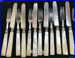 Antique Victorian Silver Plated Mother Of Pearl Handle Cutlery -24 Pieces
