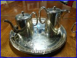 Antique Walker & Hall Sheffield Silver Plate Tea, Coffee Set, Tray 5 Piece C-1920