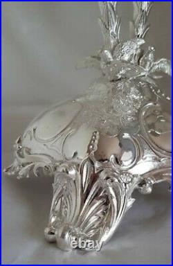 Antique silver plated center piece. Of naturalistic form. By Thomas Bradbury C1880
