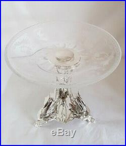 Antique silver plated center piece. Of neo-classical form. By Roberts & Belk. C1880