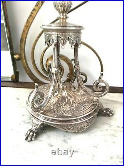 Antique small fancy silver plate TAZA lion paw feet victorian centre piece lamp