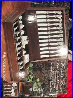 BEAUTIFUL FRENCH ROSE DESIGN SILVERPLATE FLATWARE, 64 PIECES WITH BOX, FB Rogers