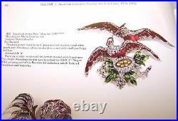 BOUCHER MB PHYGIAN CAP BOOK PIECE Love Birds n Nest SP Enamel Crystals Pearls