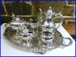 COMPLETE 6 piece SET TEA SERVING English Silver MFG Corp. 925 silver plated, USA