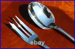 Christofle Malmaison Silver Plated 2-Pieces Spoon and Fork Serving Set