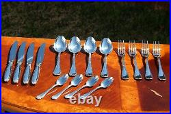 Christofle Rubans Silver Plated 16 Pieces Flatware Set in FOUR settings