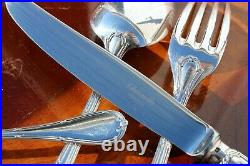 Christofle Rubans Silver Plated 24 Pieces Flatware Set in Six settings