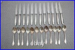 Christofle Rubans Silverplate Flatware Set Dinner Service for 12 61 Pieces