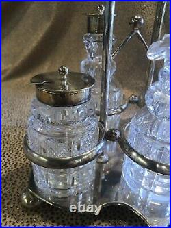 Circa 1890s Five Piece Silver Plate and Cut Glass Cruet Set