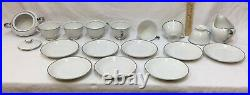 Dishes Set Empress China White with Silver Trim Platina 50 Pieces Plates Bowls Cup