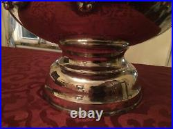 Enormous Large Heavy Silver Grape Vines Punch Bowl! Center Piece! 15 X 11 Tall