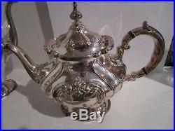 Four Piece Gorham Silverplate Chantilly Pattern Coffee & Tea Set Service